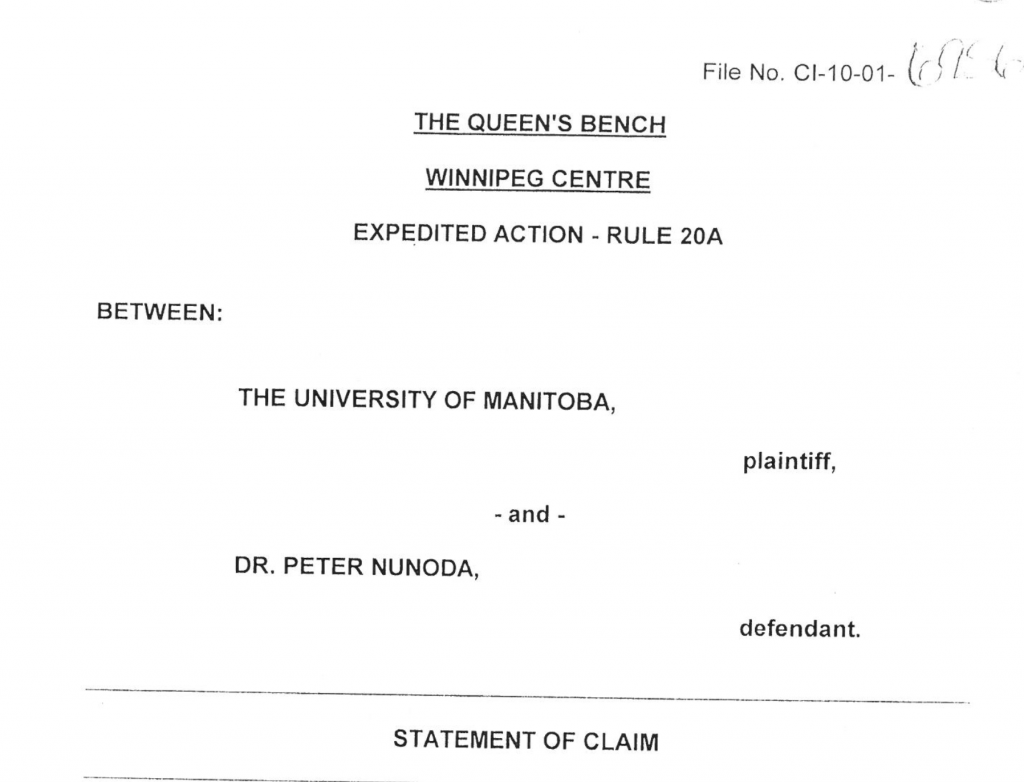 Court documents University of Manitoba vs. Peter Nunoda