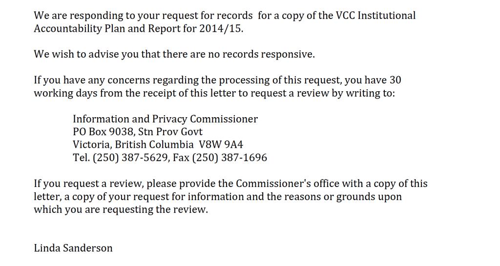 VCC FOI Response no records responsive