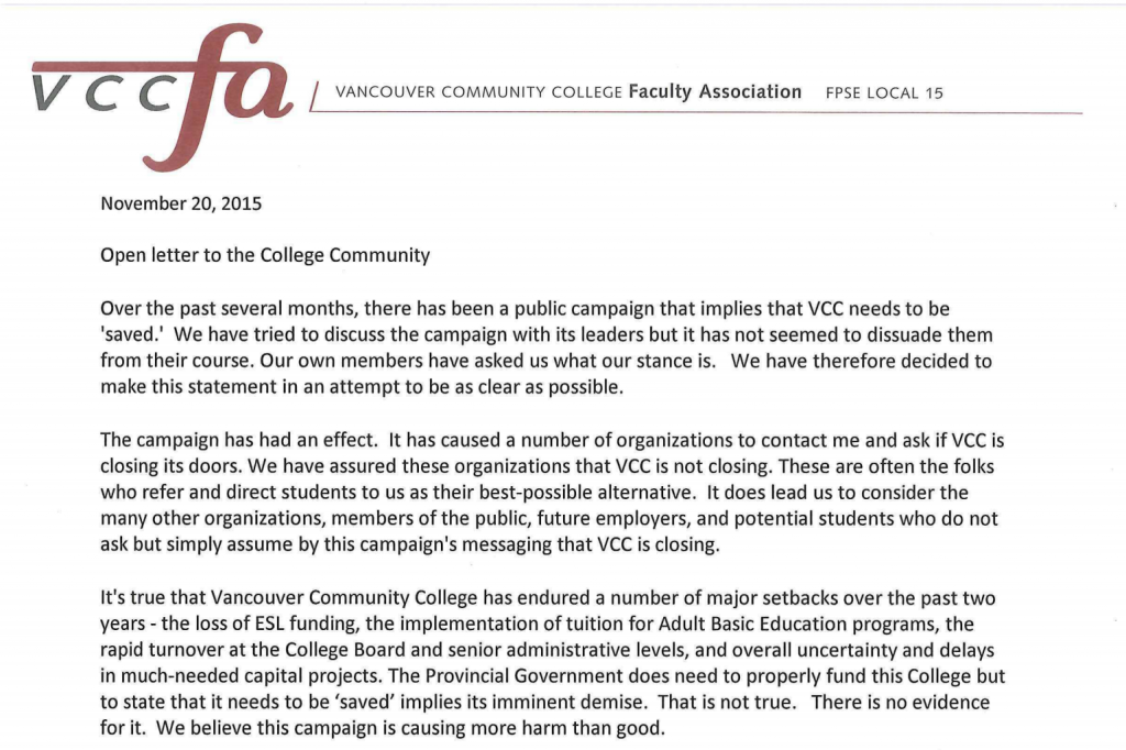 VCCFA Open Letter