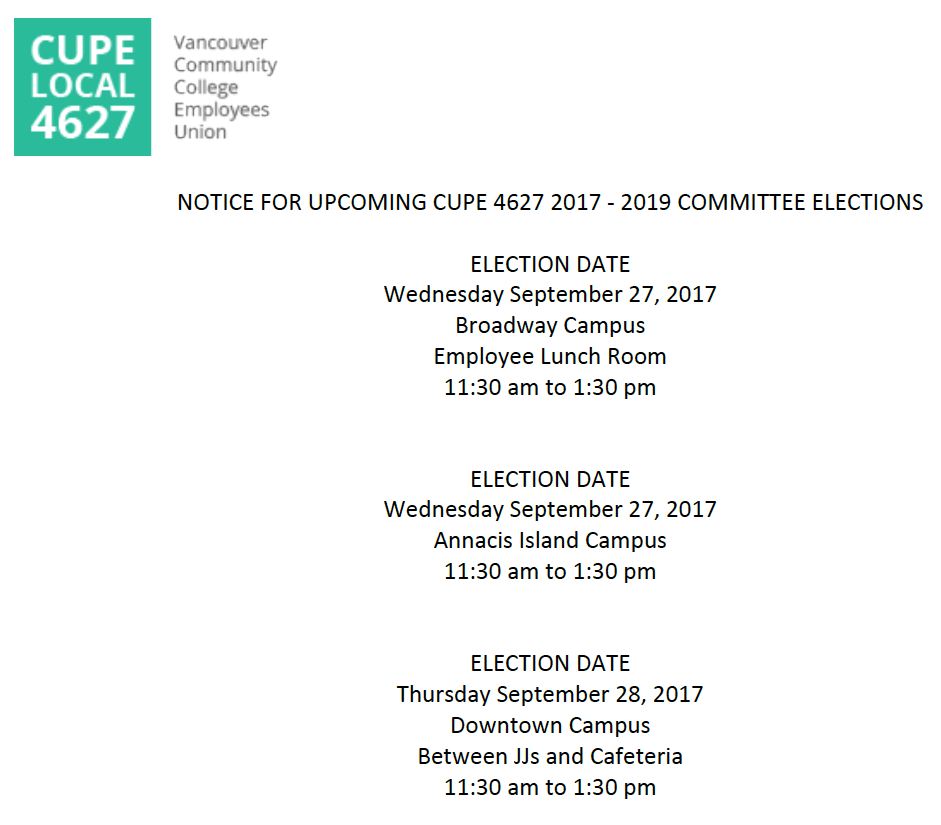 CUPE 4627 Cte Elections