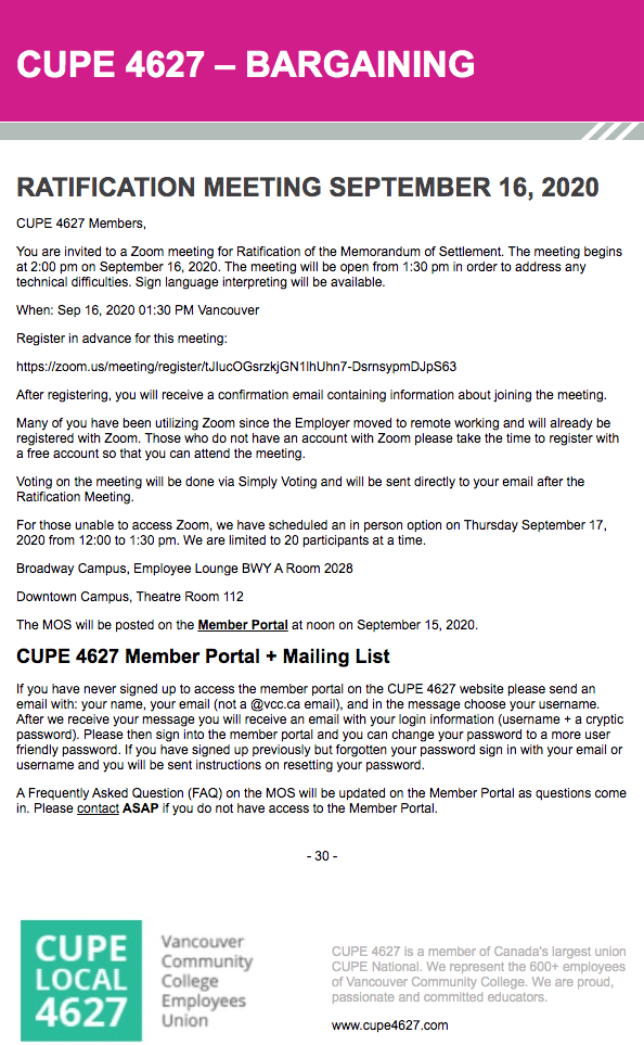 CUPE Ratification Meeting Details